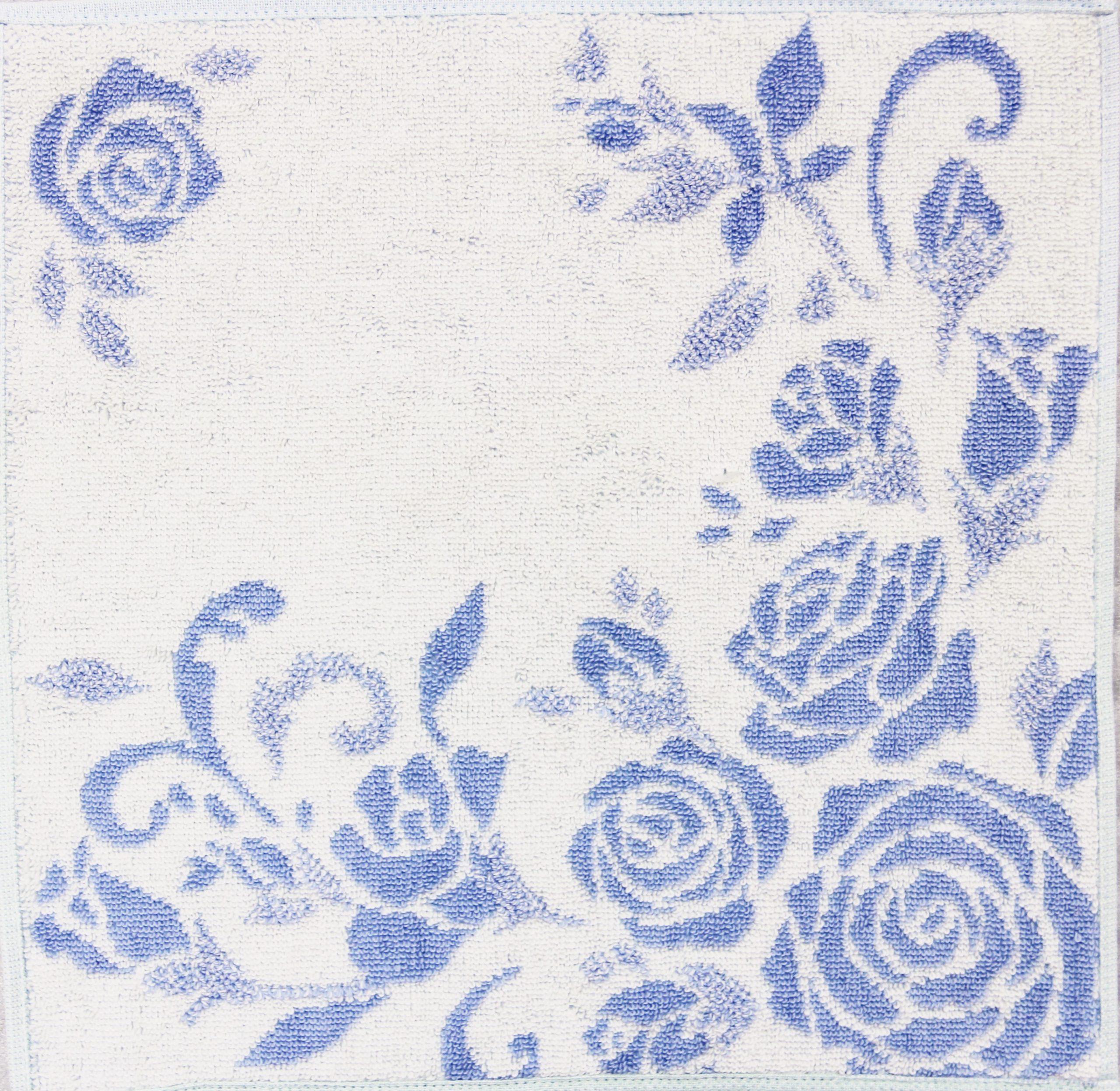 タオルハンカチ ジャガード折り ブルー