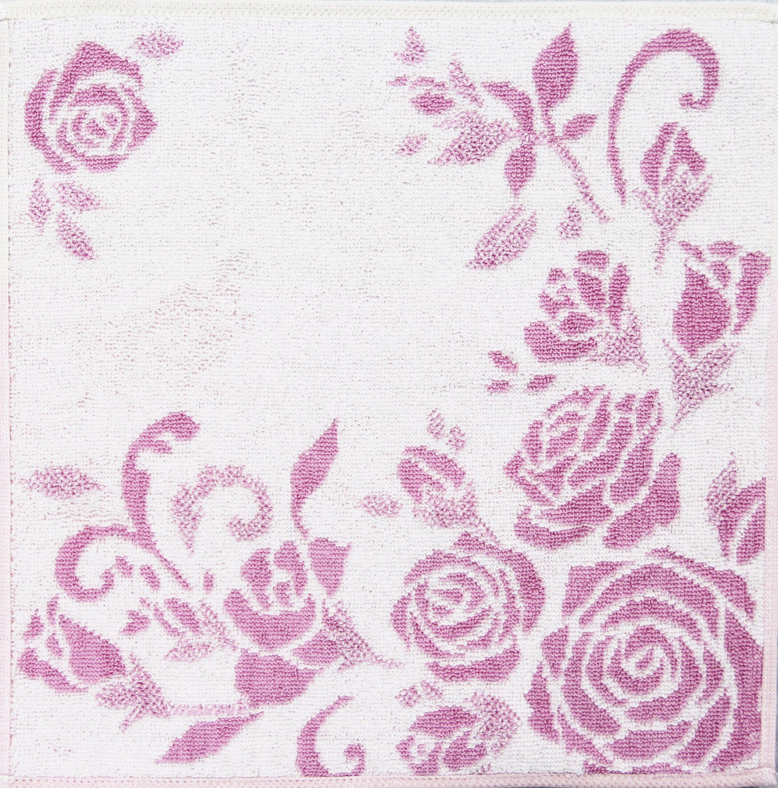 タオルハンカチ ジャガード折り ピンク